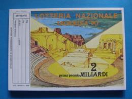 CARTOLINA LOTTERIA NAZIONALE TAORMINA 1990 - Biglietti Della Lotteria