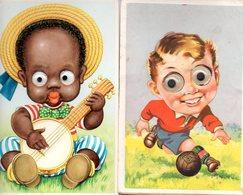 2 Cpa Humour Enfant Garçon Football +fille Banjo  YEUX PLASTIQUE MOBILES - Humour