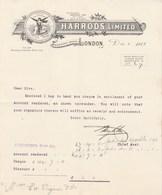Royaume Uni Facture Lettre Illustrée 1/12/1911 HARRODS Limited Chief Accountants Office LONDON - Royaume-Uni