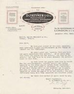 Royaume Uni Facture Lettre Illustrée 27/12/1922 D J MEYER Indian & Colonial Newspaper LONDON Et CALCUTTA - Royaume-Uni