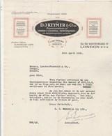 Royaume Uni Facture Lettre Illustrée  30/4/1925 D J MEYER Indian & Colonial Newspaper LONDON Et CALCUTTA - Royaume-Uni