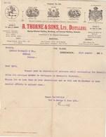 Royaume Uni Facture Lettre Illustrée 21/8/1914 R THORNE & Sons Distillers Irish Scotch Brandy GREENOCK - Reino Unido
