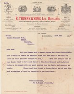 Royaume Uni Facture Lettre Illustrée 21/7/1914 R THORNE & Sons Distillers Irish Scotch Brandy GREENOCK - Royaume-Uni