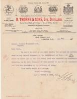 Royaume Uni Facture Lettre Illustrée 5/5/1916 R THORNE & Sons Distillers Irish Scotch Brandy LONDON - Reino Unido