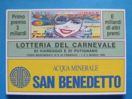 CARTOLINA LOTTERIA NAZIONALE CARNEVALE DI VIAREGGIO E PUTIGNANO 1992 - Biglietti Della Lotteria