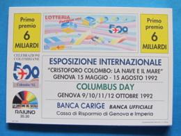 CARTOLINA LOTTERIA NAZIONALE EUROPEA 1992 - Biglietti Della Lotteria