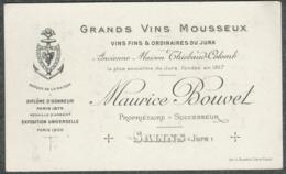 JURA SALINS Carte Visite Facture Publicitaire Vins Mousseux  Maurice Bouvet - Cartes De Visite