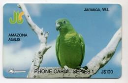 JAMAIQUE REF MV CARDS JAM-13D 100$ Annee 1993 CN : 13JAMD Amazona Agilis - Giamaica