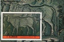 Ajman 1972 Famous Mosaics Of Animals : Toro Taurus CTO Sheet Perf. - Ajman