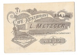 METZ (57) Carte De Visite Café Restaurant à La Lune METZGER - Metz
