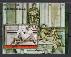 """Bf. 450 Ajman 1972 """" La Notte' """" Scultura In Marmo Di Michelangelo Buonarotti Sheet Perf. - Ajman"""