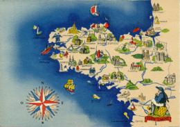 CARTE GEOGRAPHIQUE, BARRE DAYEZ (1942), REGIONS DE FRANCE, BRETAGNE, 1259 E - Cartes Géographiques