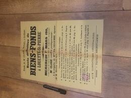 LOUETTE SAINT PIERRE 1911 Vente De Biens Fonds - Affiches