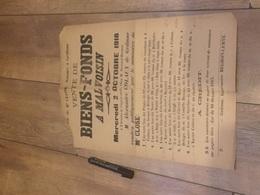 MALVOISIN 1918 Vente De Biens Fonds - Coin  Sup Gauche Absent - Affiches