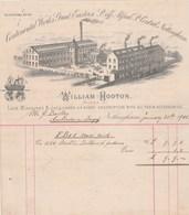 Royaume Uni Facture Illustrée 25/1/1901 WILLIAM HOOTON Lace Machines & Jacquards NOTTINGHAM - United Kingdom