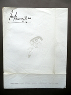 Fred Buscaglione Carta Intestata Firma Facsimile Musica Anni '50 Bernabei Modena - Vecchi Documenti
