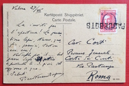 NAVIGAZIONE  ALBANIA - ITALIA PAQUEBOTS SU 10 Q. CARTOLINA DA VALONA 27/7/1929 A ROMA  ( Cartolina Di BERAT ) - Marittimi