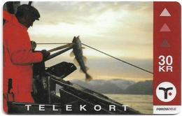 Faroe - Faroese Telecom (Magnetic) - Fishing - 30Kr. - 15.000ex, Used - Faroe Islands
