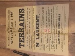 THY LE CHÂTEAU PRY 1926 Vente De Terrains - Affiches