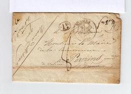 Sur Lettre AC De La Mairie De Nismes Au Maire De Peyrins CAD Nismes 1835. Taxe Manuscrite. Ld Dans Ovale. (2019x) - Postmark Collection (Covers)