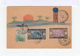 Sur Carte Dessin Naïf 2 Timbres A.O.F. Sénégal Et Un Orpehelins Guerre Cachet Dakar Colis Postaux Sénégal 1930.(2021x) - Sénégal (1887-1944)