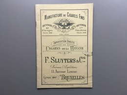 OOSTENDE - BRUSSEL - Manufactured De Cigares - Cigares De La Havane - Catalogue Prix-courant - 1908 - Oostende