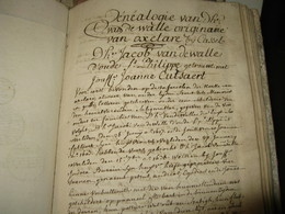 2 GRANDS CAHIERS MANUSCRITS GENEALOGIES FAMILLES VAN DE WALLE & HEELEN MOREEL 1770 Arbres FLAMANDS NORD LILLE RARE - Manuscritos