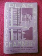 CHAMBERY PLAN TOPOGRAPHIQUE 1936 ?   Dim 83 X 54 - Cartes Topographiques