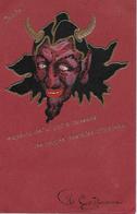 1 CPA Rouge DIABLE DEVIL Finition Dorée 1900 Que Le Diable Emporte Celui Qui A Inventé Les Cartes Postales Illustrées - Religions & Croyances