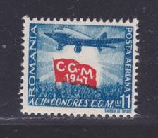 ROUMANIE AERIENS N°   44 ** MNH Neuf Sans Charnière, TB (D8710) Union Syndicale Romaine - 1947 - Luftpost