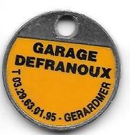 Jeton De Caddie Argenté  Ville, GARAGE  DEFRANOUX  à  GERARDMER  ( 88 ) - Jetons De Caddies
