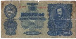 Hungary 1930  Banknote   20 Pengo As Per Scan - Hongrie