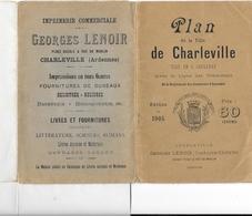 PLAN De CHARLEVILLE - 1905 -  Avec Ligne De Tramways Et Règlement Des Sonneries D'Incendie -Georges LENOIR Editeur à Cha - Cartes