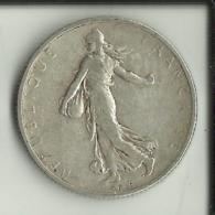 FRANCE : 1 PIECE DE 2 FRANCS ARGENT TYPE SEMEUSE 1908.  (2 Scans) - France