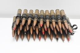 Militaria - Bande 40 Munitions 12,7mm Vidées Et Percutées - Ideal Reconstitution Historique US WW2 - Armes Neutralisées