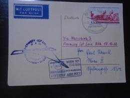 WIEN/VIENNA-WARSZAWA - AUSTRIAN AIRLINES - AUA - 17.10.1958 - First Flight Covers