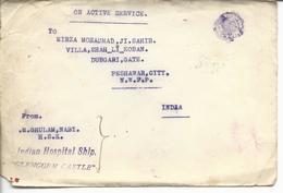 """Rare Navire Hopital Indhou Basé à Southampton  Vers Bombay Et Peshawwar """"indian Hospital Ship Glengorm Castle"""" 1915 - Marcophilie (Lettres)"""