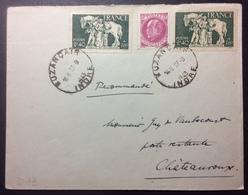 D73 Famille Du Prisonnier 586 X 2 Premier Jour 27/9/1943 Buzançais + 505 + Taxe 37 - Covers & Documents