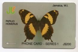 JAMAIQUE REF MV CARDS JAM-8D 200$ Annee 1992 CN : 8JAMD PAPILLON - Jamaica