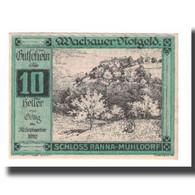 Billet, Autriche, Wachauer Notgeld Schloß Ranna-Mühldorf Gemeinde, 10 Heller - Autriche