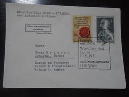 WIEN/VIENNA - ISTANBUL - BEIRUT - AUSTRIAN AIRLINES - AUA - 10.09.1971 - First Flight Covers