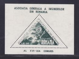 ROUMANIE BLOC N°   26 (*) Neuf Sans Gomme D'origine, TB (CLR454) Congrès Des Ingénieurs Roumains - 1945 - Hojas Bloque