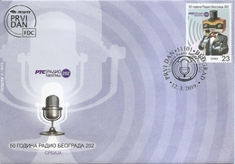 SERBIA  2019,50 YEARS OF RADIO BELGRADE 202,,RADIO,MUSIC,MICROPHONE,WITH ENGRAVER,FDC - Serbie