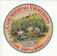 Etiquette De Fromage Camembert Des Vignerons - Benais - Indre Et Loire. - Kaas