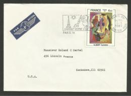 N° 2137 - 4.00 Peintre A. GLEIZES / PARIS 05.03.1981 Lettre Avion >>> U.S.A. .........au Tarif - Marcophilie (Lettres)