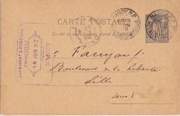 C Entier 10c Noir Sage De Nancy (Daguin 201 Nancy RP Meurthe Et Moselle) Le 8 Juin 92 Pour Lille - Cartes Postales Types Et TSC (avant 1995)