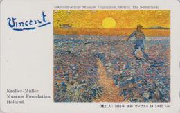 TC Japon / 110-011 - PEINTURE FRANCE - VAN GOGH - Semeur & Coucher De Soleil Sunset - Japan Painting Phonecard - 1821 - Malerei