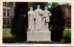 Wisconsin Green Bay Spirit Of The Northwest Statue Curteich - Green Bay
