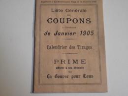 Coupons à Échéance, 1905, Petit Fascicule, Supplément à La Bourse Pour Tous - Non Classés