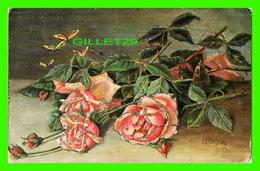 FLOWERS, FLEURS - GERBES DE ROSES - BRILLANTS - ÉCRITE - ENDOS 3/4 - - Fleurs